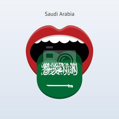 Saudi-Arabien Sprache. Abstrakt menschliche Zunge.