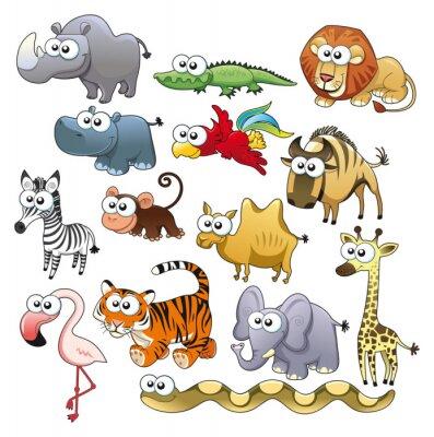 Savannah Tierfamilie . Funny Cartoon und Vektor-Zeichen.