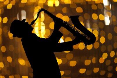 Bild Saxophonist. Man spielt auf Saxophon