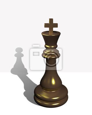 Schach-König mit dem Schatten eines Bauern