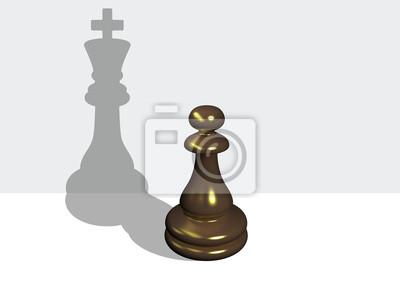Schachpfandgegenstand mit dem Schatten eines Königs, die in 3D-Software gemacht