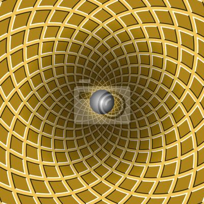 Schachtelungstrichter. Drehbohrung. Bunte Bewegung Hintergrund. Optische Täuschungabbildung.