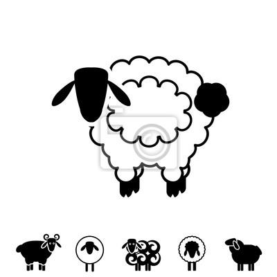 Schaf Oder Ram Icon Logo Schablone Piktogramm Leinwandbilder