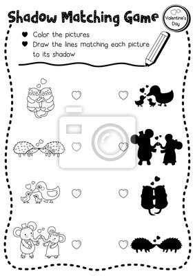 Schatten matching spiel von tieren für vorschule kinder aktivität ...