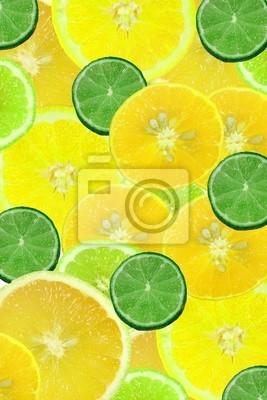 Scheiben geschnitten Zitrusfrüchte, Limetten und Zitronen Hintergrund