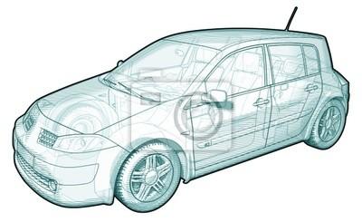 Schematische darstellung eines auto leinwandbilder • bilder ...