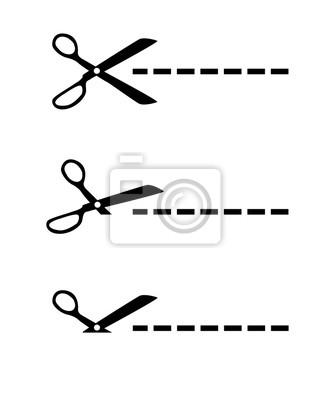 Beliebt Bevorzugt Schere ausschneiden gestrichelte linie leinwandbilder • bilder &BX_12