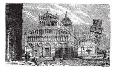 Schiefer Turm Dom Und Baptisterium Von Pisa Vintage Engravi