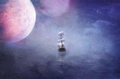 Bild Schiff in der Weite des Universums Hintergrund Illustration