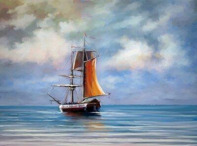 Bild Schiff, Meer. Landschaft. Öl digitale Gemälde.