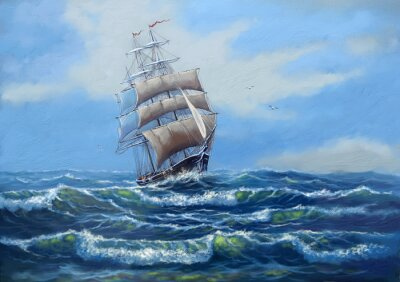 Bild Schiff, Meer Ölgemälde Landschaft, Kunst