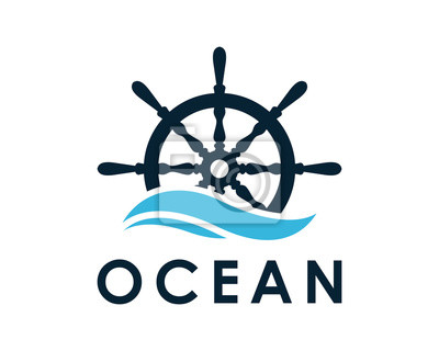 Bild Schiff und Boot Helm Lenkrad auf der Welle Wasser Ozean Logo Symbol