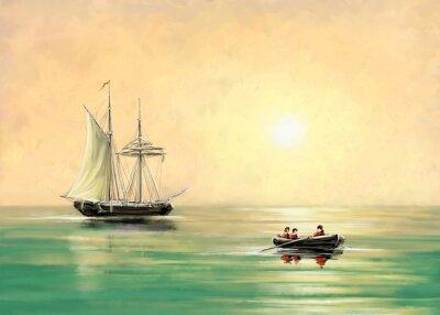 Bild Schiff und Boot, Meer Landschaft, Öl digitale Gemälde