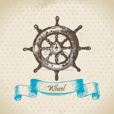 Schiffe Rad. Hand gezeichnete Illustration
