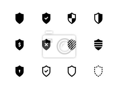 Schild-Symbole auf weißem Hintergrund.
