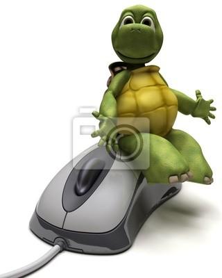 Schildkröte mit einer Computer-Maus