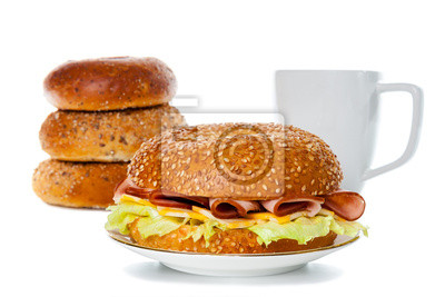 Schinken und Käse Bagel Sandwich Frühstück