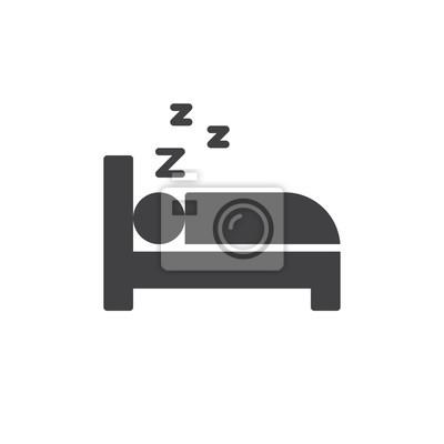 Schlafen Im Bett Icon Vektor Gefullt Flache Zeichen Solide
