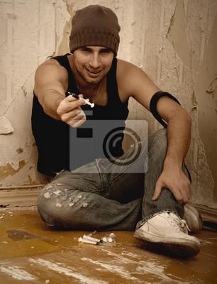 Bild schlechter Mann - Drogendealer mit Spritzen und mit Drogen