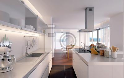 Schlichte Kuche In Penthouse Luxus Kuche Leinwandbilder Bilder