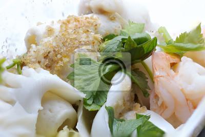 Schließen Sie oben Gedämpfte gemischte Meeresfrüchte
