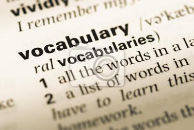 Bild Schließen Sie oben von der alten englischen Wörterbuchseite mit Wortvokabular