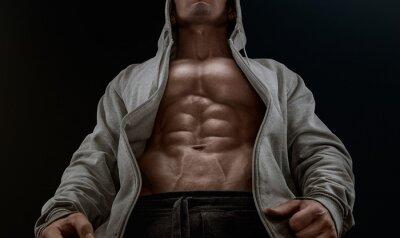 Bild Schließen Sie sich auf perfekte abs. Starke Bodybuilder mit Six Pack