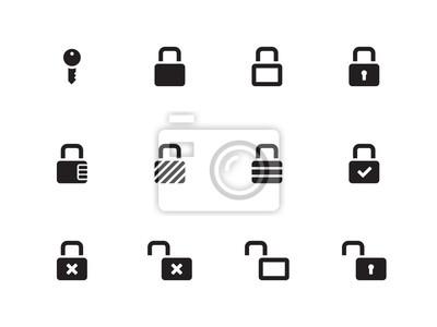 Schlösser Symbole auf weißem Hintergrund.