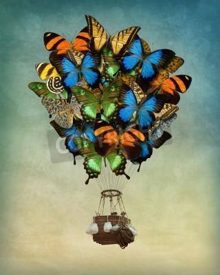 Bild Schmetterling Heißluftballon hoch in den Himmel