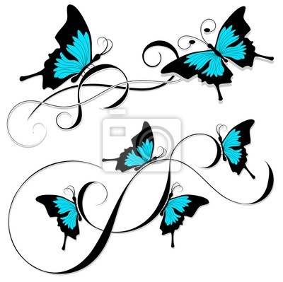 Schmetterling Tattoo Blau Gemalde Fur Die Wand O Bilder