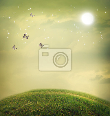 Schmetterlinge in einer Fantasy-Landschaft