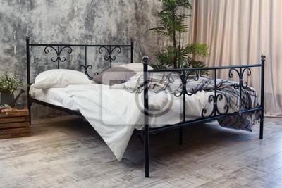 Schmiedeeisen Bett Leinwandbilder Bilder Myloview De
