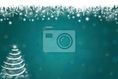 Schneeflocken und Weihnachtsbaum-Hintergrund in Blau