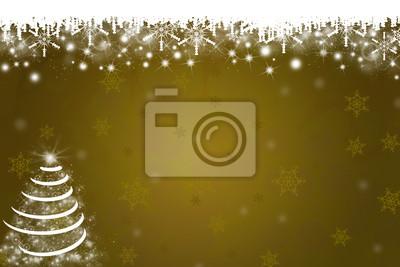 Schneeflocken und Weihnachtsbaum-Hintergrund in Gold
