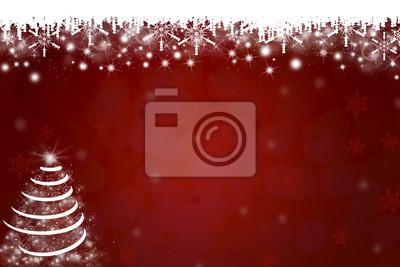 Schneeflocken und Weihnachtsbaum-Hintergrund in Rot