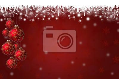Schneeflocken und Weihnachtskugeln Hintergrund