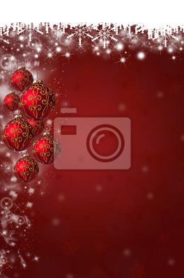 Schneeflocken und Weihnachtskugeln Hintergrund in Rot