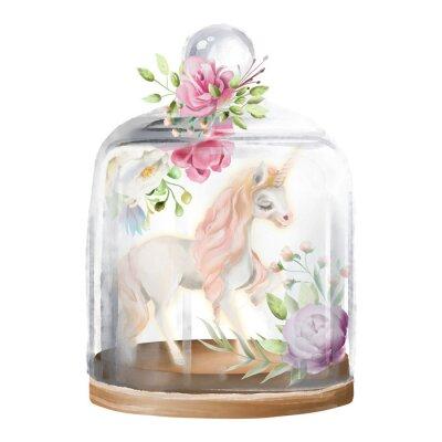 Bild Schön, Einhorn, magisches Pferd und Blumen in einem Glasmaurerglas. Fantasieaquarellillustration lokalisiert auf Weiß