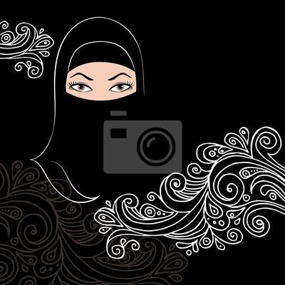 Schöne arabische Frau Silhouette mit Blumen