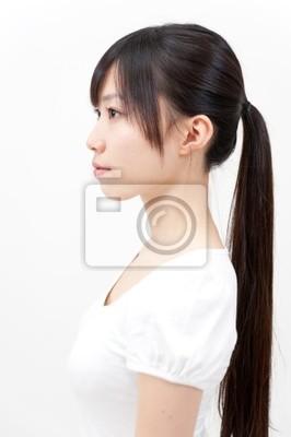 Schone Asiatische Frau Mit Pferdeschwanz Frisur Leinwandbilder