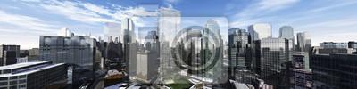 Bild Schöne Aussicht auf die Wolkenkratzer, moderne Stadtlandschaft, 3D-Rendering