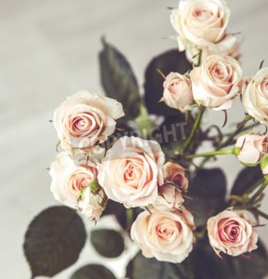 Bild Schöne Bouquet von Pfirsich Rosen in Vintage Vase auf schwarzem Hintergrund