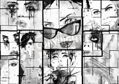 Bild Schöne Collage, Gesichter von Frauen. Handgemalte Mode Illustration
