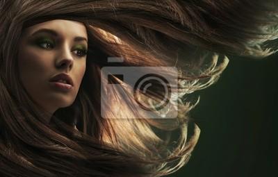 Schöne Dame mit langen braunen Haaren
