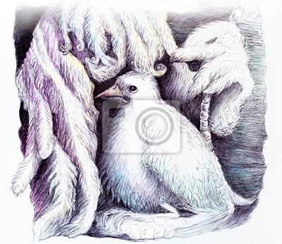 Schöne detaillierte Fantasiezeichnung einer Feder Fee