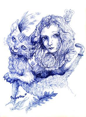 Schöne detaillierte Fantasy Zeichnung einer Fee Mädchen und eine Katze,