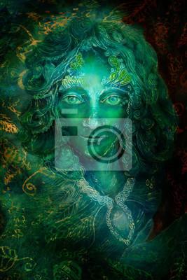 Schöne Fantasie smaragdgrünes feenhaftes Portrait, bunte schließen herauf Anstrich, Blickkontakt