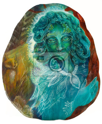 Schöne Fantasy smaragdgrünen feenhafte Porträt, bunt close