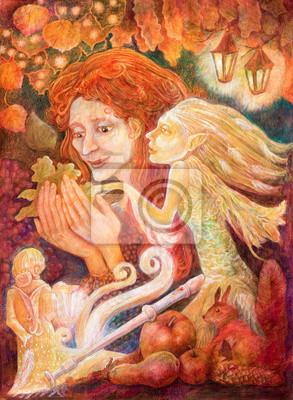 Schöne Fantasy-Zeichnung eines Herbst Frau mit dem roten Haar headin
