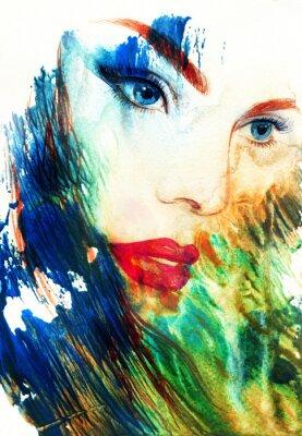 Bild Schöne Frau Gesicht. Abstrakte Art und Weise Aquarellabbildung